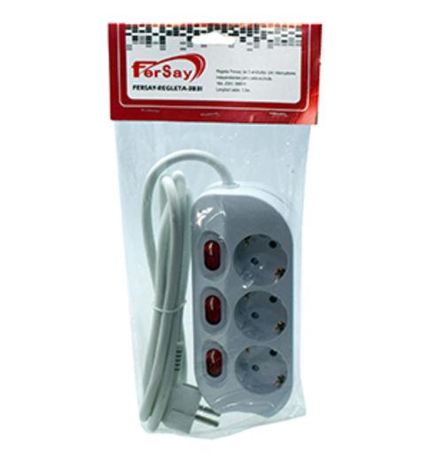 Regleta 3 enchufes con interruptor individual regletas - Enchufes con interruptor ...